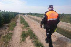 Un voluntario de Protección Civil recorre los huertos cercanos a donde fue visto el desaparecido.