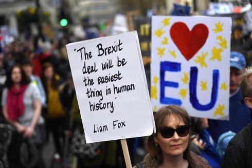 Manifestación de este sábado en Londres para exigir al Gobierno británico un nuevo referéndum ante el Brexit.