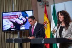 Los consejeros de Presidencia e Igualdad, Elías Bendodo y Rocío Ruiz.