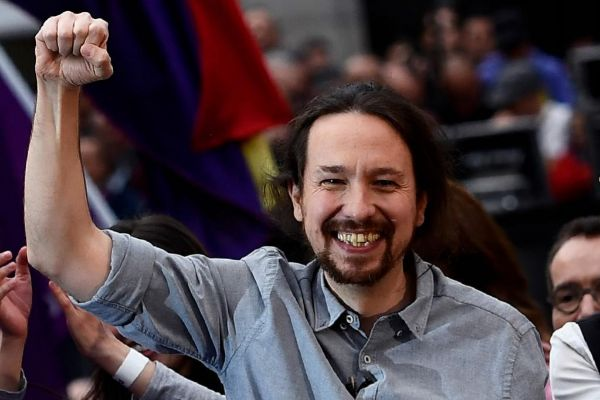 Pablo Iglesias, durante el mitin que pronunció ayer en Madrid.