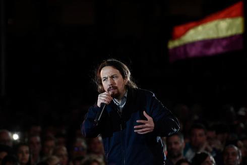 Pablo Iglesias durante el acto de precampaña de Podemos en Madrid.
