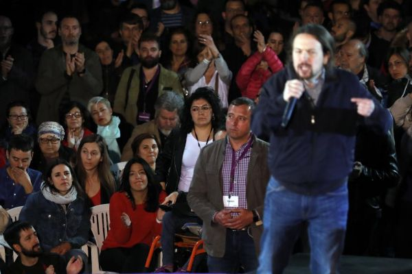 El 'probe Tinaja', doble de Pablo Iglesias, ayer en Madrid.