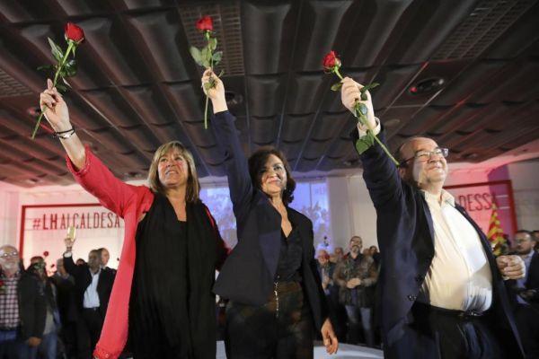 Carmen Calvo y Miquel Iceta en la presentación de candidata por PSC de Hospitalet Núria Marín