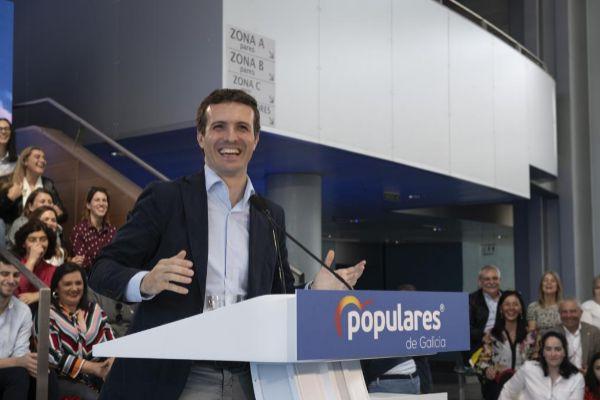 Pablo Casado, durante un acto del PP en Galicia.