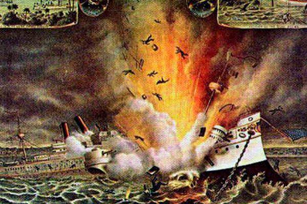 Ilustración sobre la explosión del Maine en el puerto de La Habana.