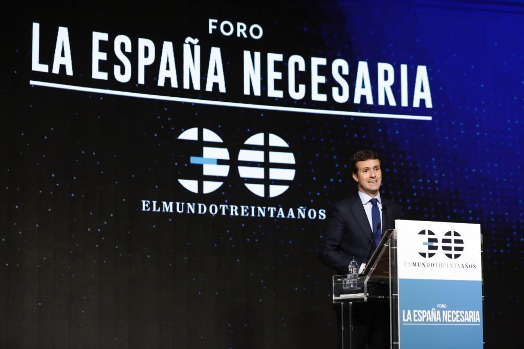 El líder del PP, durante su intervención.