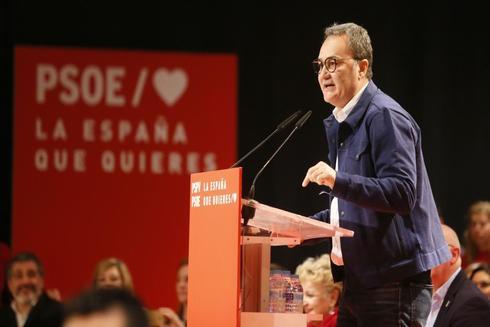El candidato socialista, durante el mitin celebrado el pasado sábado en Alicante