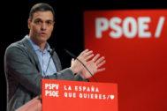Pedro Sánchez, durante un acto del PSOE en Alicante.