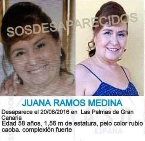 Cartel que denunciaba la desaparición de Juana Ramos en 2016.