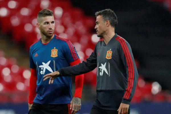 Sergio Ramos y Luis Enrique, en septiembre en Wembley.