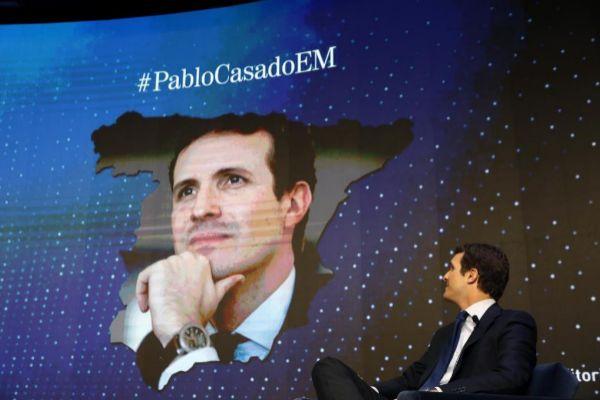 El líder del PP, Pablo Casado, durante el foro organizado por EL...