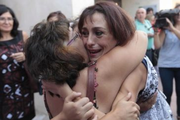 Juana Rivas, durante una de las manifestaciones de apoyo.