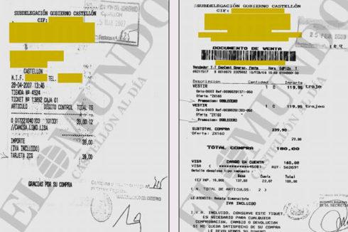 Facturas de artículos de moda pagados por Subdelegación donde se observa que generaban puntos al comprador para futuras adquisiciones.