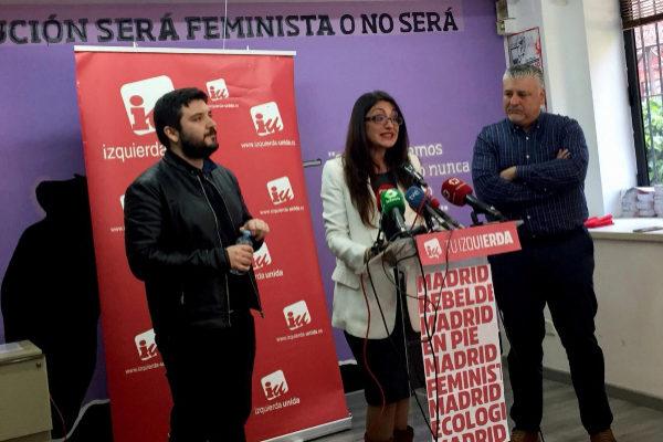Álvaro Aguilera, Sol Sánchez y Javier Viondi, de IU.