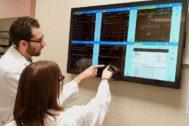 Profesionales médicos consultando los datos de sus pacientes a través de la plataforma web BC Link, en un centro hospitalario de Barcelona.