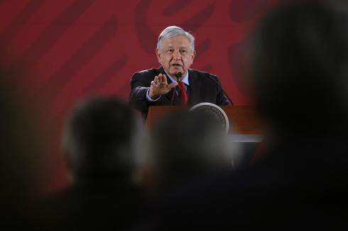 El presidente de México, Andrés Manuel López Obrador, durante la rueda de prensa celebrada este martes en el Palacio Nacional.