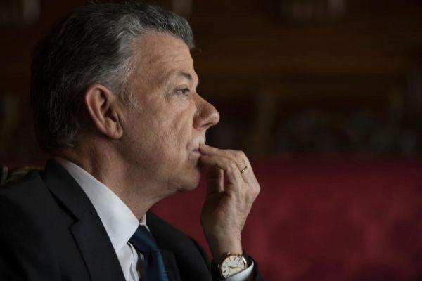 El ex presidente colombiano, ayer, en Madrid.