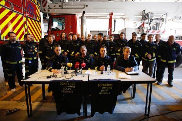 Rueda de prensa de los bomberos del Ayuntamiento de Madrid.