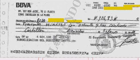 Cheque empleado por Subdelegación para pagar a proveedores.
