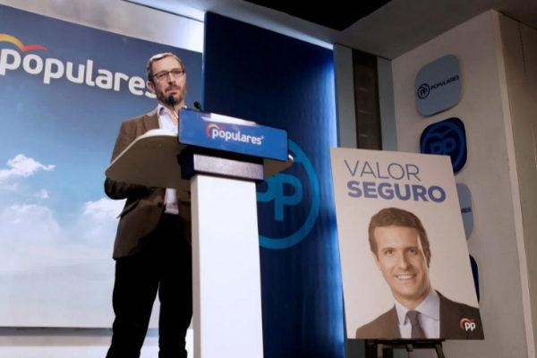 Javier Maroto presenta el lema de campaña del PP: 'Valor seguro'.