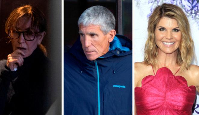 Las actrices Huffman y Loughlin, entre el empresario responsable de la red de sobornos.