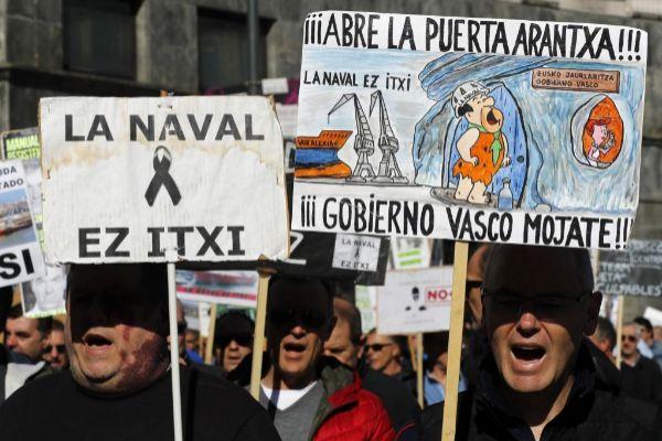 Manifestación de los trabajadores de La Naval.