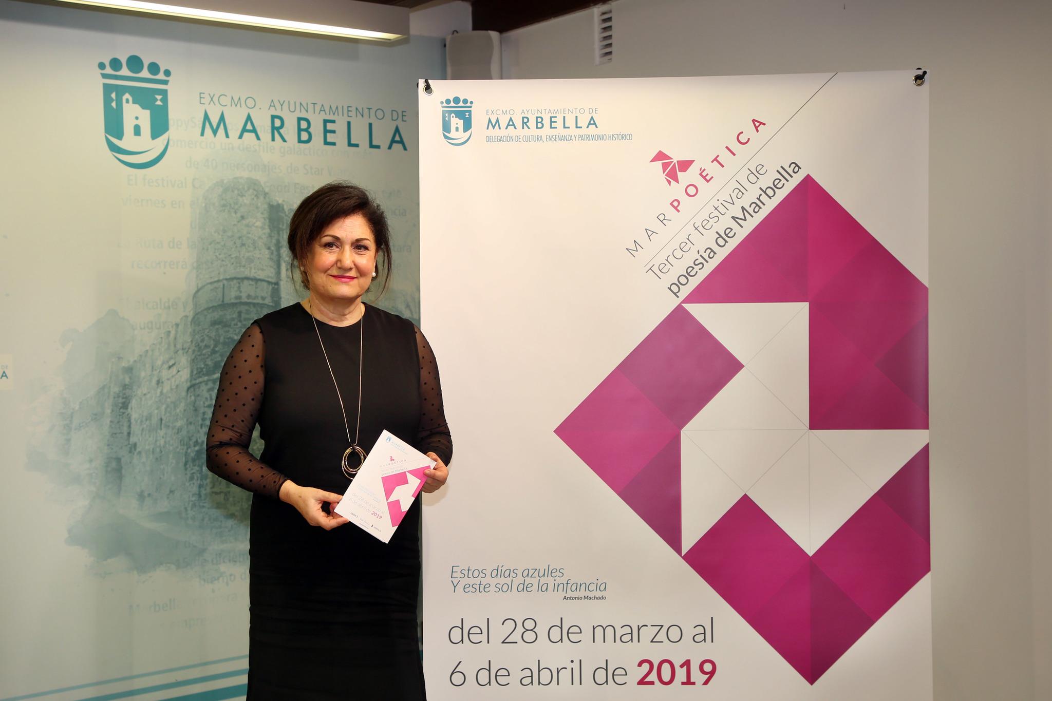 María del Carmen Díaz García, directora de Cultura en la presentación de Marpoética.