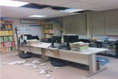 Imagen del techo caído en dependencias judiciales de Martorell