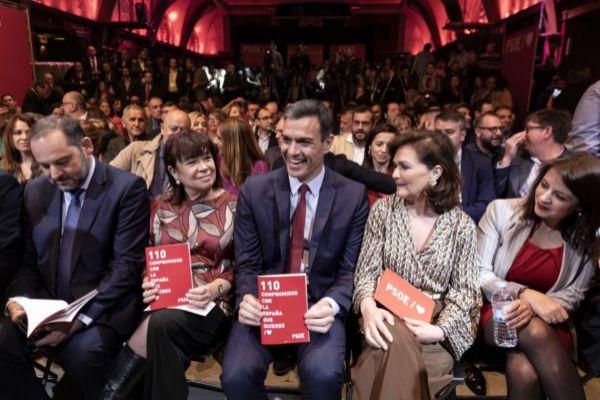 Sánchez, en la presentación ayer del programa del PSOE.