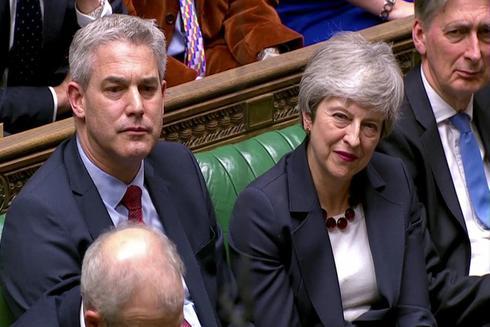 Theresa May después de las votaciones en el Parlamento británico.