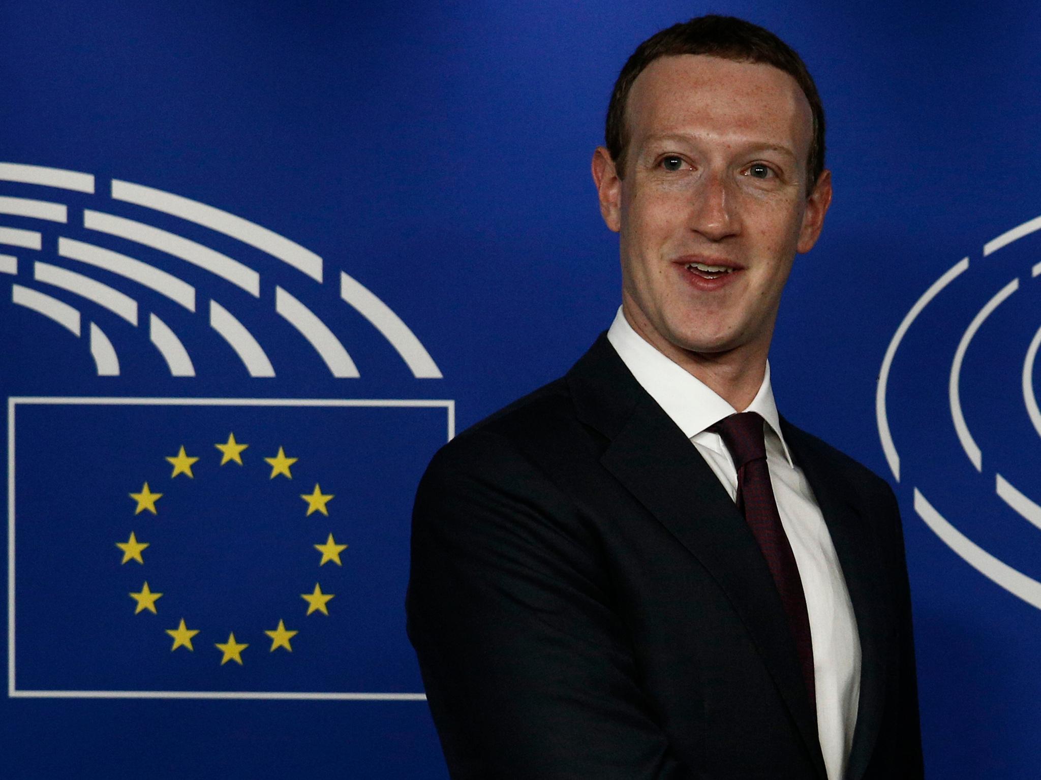 Mark Zuckerberg en el Parlamento Europeo.