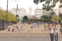 Figuración de la futura plaza de la Reina.