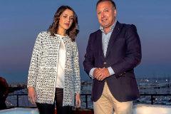Inés Arrimadas y Joan Mesquida al inicio del acto de precampaña celebrado ayer en la terraza del Auditorium de Palma.