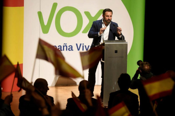 Santiago Abascal, el martes en un acto en Huesca.