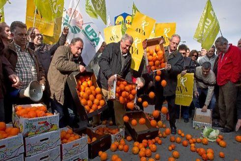 Agricultores tiran naranjas frente a supermercados alemanes.