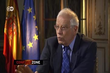 Josep Borrell, durante su entrevista en la televisión alemana