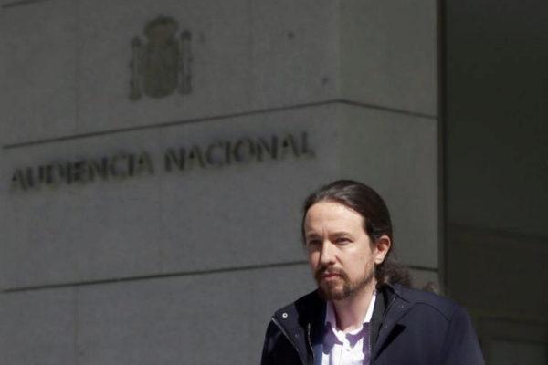 Pablo Iglesias, el miércoles, al abandonar la Audiencia Nacional.
