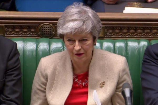 La primera ministra británica, Theresa May, hoy, en el Parlamento británico.