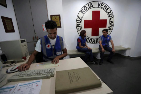 Employees work at the Venezuelan Red Cross in Caracas