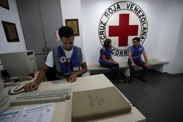 Employees work at the Venezuelan Red Cross in Caracas