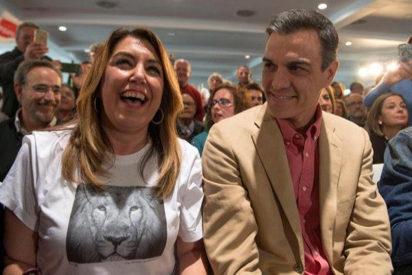 Susana Díaz y Pedro Sánchez, en el acto del PSOE en Jaén.
