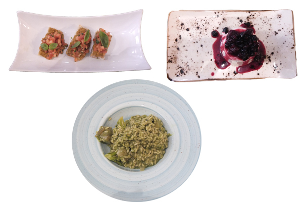 Bruschetta, Rissotto de verduras y Panacotta con frutos rojos.