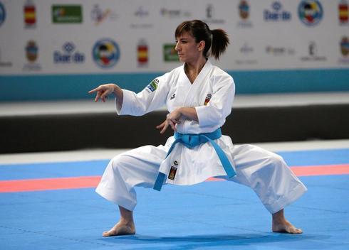 Sandra Sánchez, durante su actuación en los campeonatos de Europa, en Guadalajara.