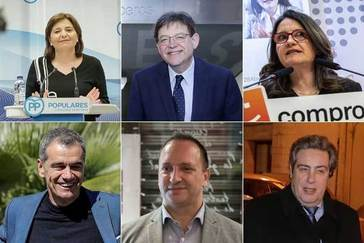Arriba: Isabel Bonig (PPCV), Ximo Puig (PSPV) y Mónica Oltra (Compromís). Abajo: Toni Cantó (Cs), Rubén Martínez Dalmau (Podemos) y José María Llanos (Vox).