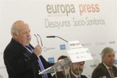 El consejero de Salud de la Junta, Jesús Aguirre, este viernes en un desayuno informativo en Madrid.