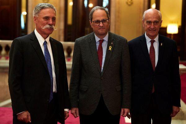 El presidente Torra y Vicenç Aguilera (derecha) mantuvieron una...