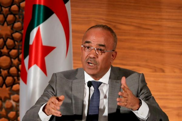 FILE PHOTO: <HIT>Algeria</HIT>'s newly appointed prime minister, Noureddine Bedoui, speaks during a joint news conference with deputy prime minister Ramtane Lamamra, in Algiers