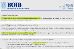 BOIB con extractos de la ley de alquileres turísticos de Formentera.
