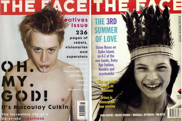 Dos portadas míticas de la revista: Macaulay Culkin en 2002 y la primera portada en la carrera de Kate Moss, cuando tenía 16 años (1990).