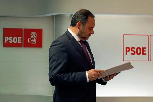 José Luis Ábalos, durante su comparecencia en Ferraz